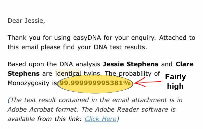 fraternal twins DNA test results email